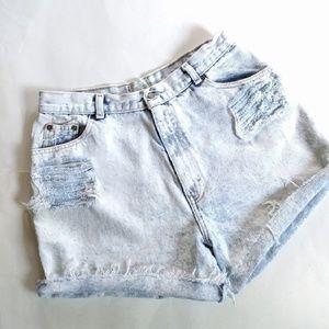 Vintage ripped distressed acid washed denim shorts